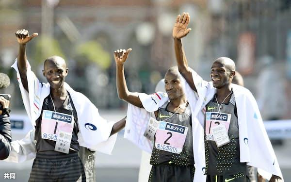 2月の東京マラソンもケニア勢が表彰台を独占した=共同