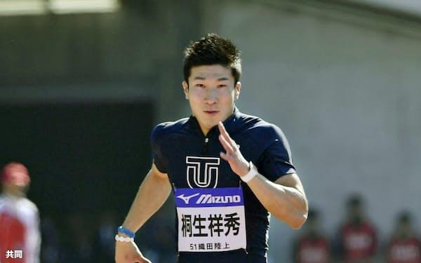 男子100メートル決勝 10秒04で優勝した桐生祥秀(29日、エディオンスタジアム広島)=共同
