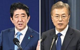 安倍晋三首相(左)と韓国の文在寅大統領=共同