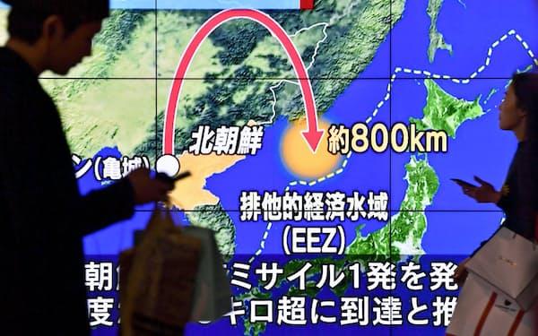 緊迫する国際情勢が経済に瞬時に影響を及ぼす時代に(北朝鮮のミサイル発射を報じる街頭テレビ=14日午後、東京・新宿)