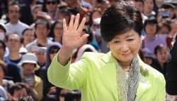 公明党の都議選候補の応援演説に訪れた小池都知事(5月4日、東京都北区)