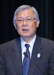 講演するNECの新野隆社長(30日、東京都千代田区)