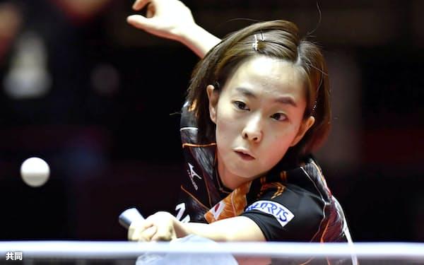 女子シングルス1回戦を突破した石川佳純(5月31日、デュッセルドルフ)=共同