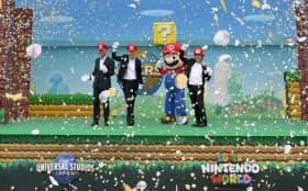 ユニバーサル・スタジオ・ジャパンで開かれた「スーパー・ニンテンドー・ワールド」の着工式(8日午前、大阪市此花区)=浦田晃之介撮影