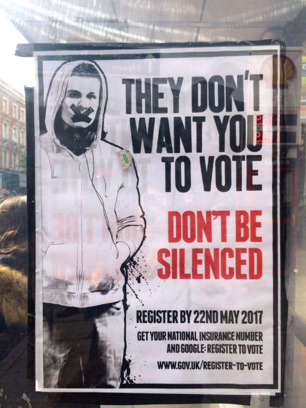 「口を閉ざすな」として、若者に投票を呼びかけるポスターがロンドンの随所に出現した