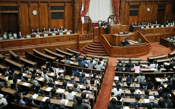 改正組織犯罪処罰法を可決した参院本会議(15日午前)
