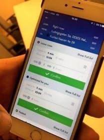 「ウィム」のアプリを使い、スマホで複数の移動手段をまとめて予約できる