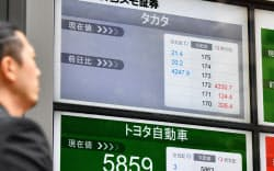 売買取引が停止したタカタ株(26日午前、東京都中央区)