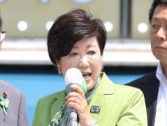 街頭演説をする小池百合子都知事(6月23日、東京・渋谷区)