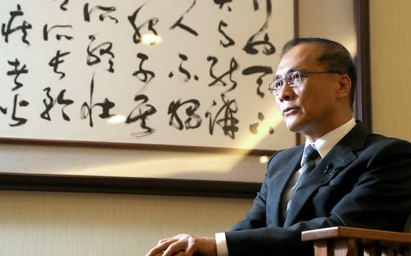 台湾の林全・行政院長はTPPについて「第2陣で招き入れてほしい」と期待を表明した(6月23日、台北市)=小川望撮影