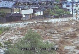 大雨の影響で氾濫した福岡県添田町の彦山川(5日)=国交省九州地方整備局提供・共同