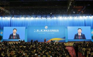 北京で開かれた「一帯一路」の国際会議の開幕式=共同