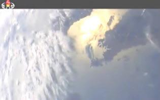 5月21日に発射した弾道ミサイルに搭載したカメラの映像は、中国遼寧省の遼東半島から北京上空へと照準を定めるようにアングルを移して終わった(北朝鮮の朝鮮中央テレビより)