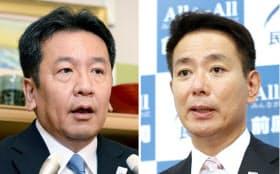 民進党代表選に立候補した枝野氏(写真左)と前原氏(21日午前)
