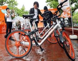 モバイクのシェア自転車体験会(22日午後、札幌市中央区)