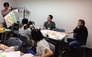 池上教授(右)と東工大の教え子らが参加した読書会の風景