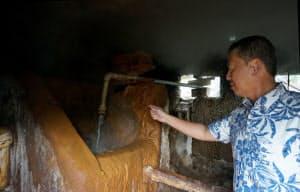 「金泉」には豊富な鉄分や塩分が含まれている(神戸市)