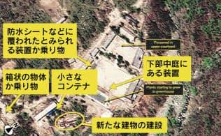 5月18日に撮影された、北朝鮮・豊渓里にある核実験場の衛星写真。新たに建設が始まったとみられる建物が写っている(デジタルグローブ/38ノース提供)=ゲッティ・共同