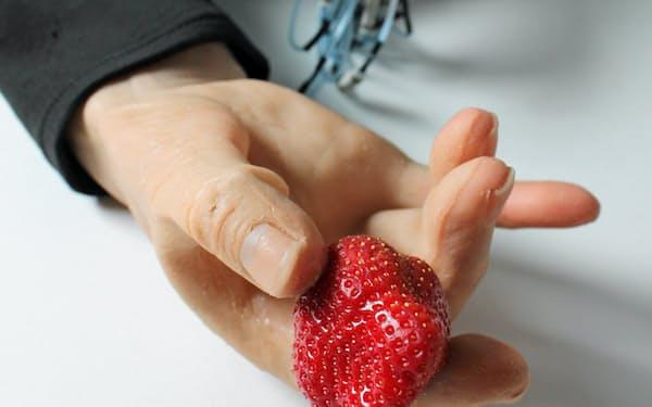 関節を持った5本の指で空揚げ、だし巻き卵、握りずし、りんごなどをつかむ(写真は試作品)
