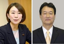 山尾志桜里氏(左)と大島敦氏=共同