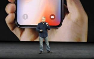 米アップルの新製品発表会(米カリフォルニア州)