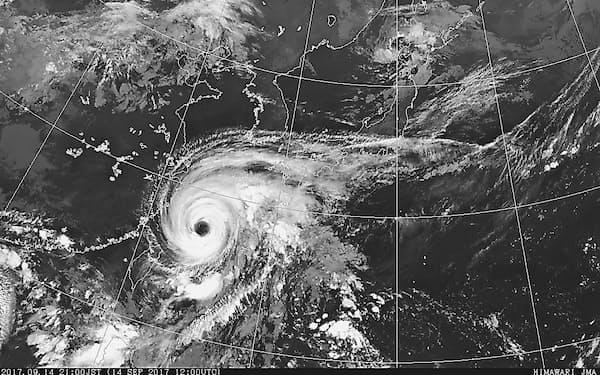 最盛期を迎えた台風18号(9月14日午後9時、気象庁ホームページから)