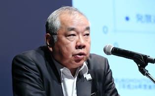 講演するみずほフィナンシャルグループの山田大介常務執行役員(20日午前、東京・丸の内)