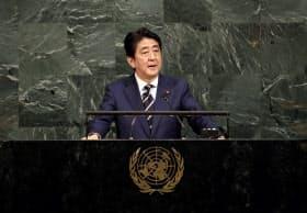 国連総会で一般討論演説する安倍首相(20日、ニューヨークの国連本部)=AP