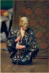 「檜垣」を勤める九世片山九郎右衛門の芸名時代の片山幽雪(1990年、渡辺 恭助撮影)