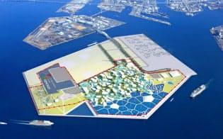 大阪市此花区の人工島「夢洲」で計画されている万博会場は上空から眺めると幾何学模様に見える