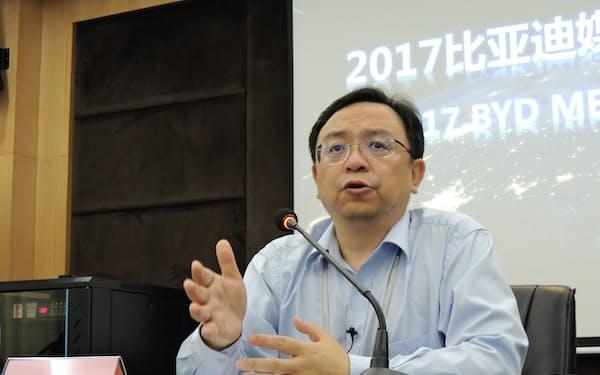 一部の海外メディアのインタビューに応じた中国EV最大手BYDの王伝福・董事長(広東省深圳市の本社)