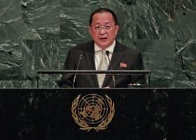 国連総会で演説する北朝鮮の李容浩外相(23日)=AP