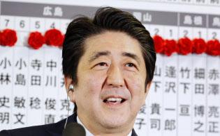 安倍首相は「細切れ解散」によって前回の総選挙で大勝した(2014年12月、自民党本部)