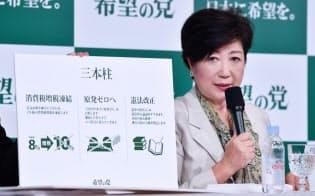 公約を発表する希望の党の小池代表(6日午前、東京都千代田区)