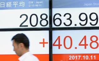 年初来高値を更新し、2万800円台で推移する日経平均株価(11日午前、東京都中央区)