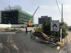 加計学園が運営する岡山理科大が来春開校を予定する獣医学部の建設現場(9月、愛媛県今治市)