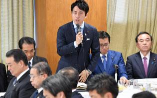 自民党は小泉進次郎氏を旗頭に農政改革を進めていた。(16年11月、自民党本部)