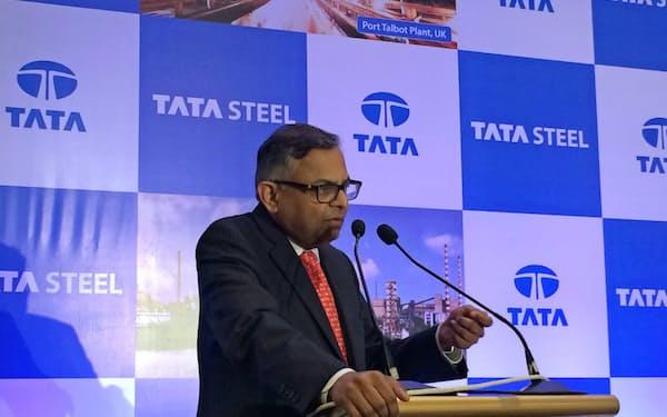 チャンドラセカラン会長は9月、タタ製鉄の欧州事業再編を発表した(ムンバイ)