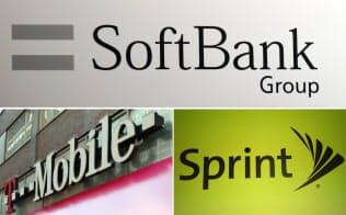 (写真上から時計回りに)ソフトバンクグループ、スプリント、Tモバイルのロゴ
