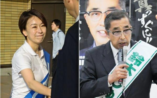 有権者と握手する山尾志桜里氏(左)と演説する鈴木淳司氏