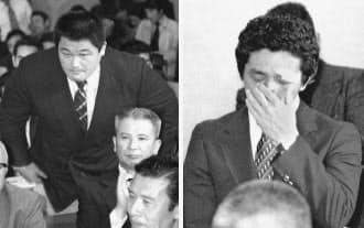80年4月、モスクワ五輪参加を訴える柔道の山下選手(左)とレスリングの高田選手=共同