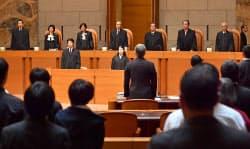 NHK受信料訴訟の上告審で弁論が開かれた最高裁大法廷(25日午後)