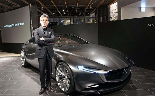 マツダが理想とするデザインを形にしたコンセプトモデル車(関東マツダの高田馬場店)