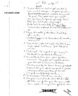 26日に米国立公文書館が公開したケネディ暗殺に関する機密文書の一部