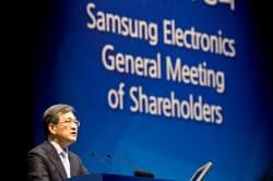 24日、サムスン電子の定時株主総会であいさつする議長の権五鉉副会長(ソウル)=ロイター