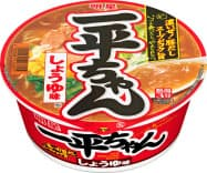 明星食品は3日、カップ麺「明星 一平ちゃん しょうゆ味」(写真)など4商品の一部商品を自主回収すると発表した