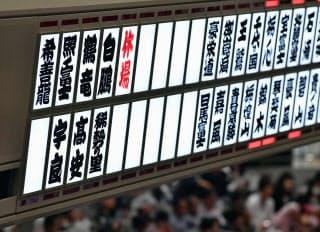 秋場所千秋楽で休場力士を知らせる電光掲示板。3横綱2大関が不在となった=共同