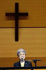 集会で語る、横田めぐみさんの母、早紀江さん(9日午後、東京都千代田区)=共同