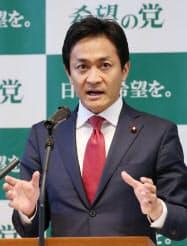 希望の党の共同代表選で所信を述べる玉木雄一郎氏(10日午前、東京・永田町)
