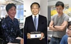 写真左からメルカリの山田会長、エリーパワーの吉田社長、ラクスルの松本社長